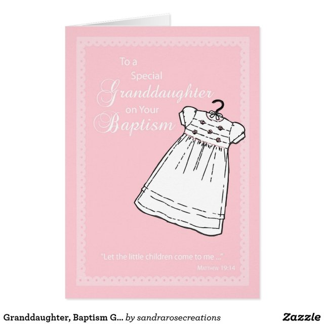 Granddaughter, Baptism Gown on Pink Card
