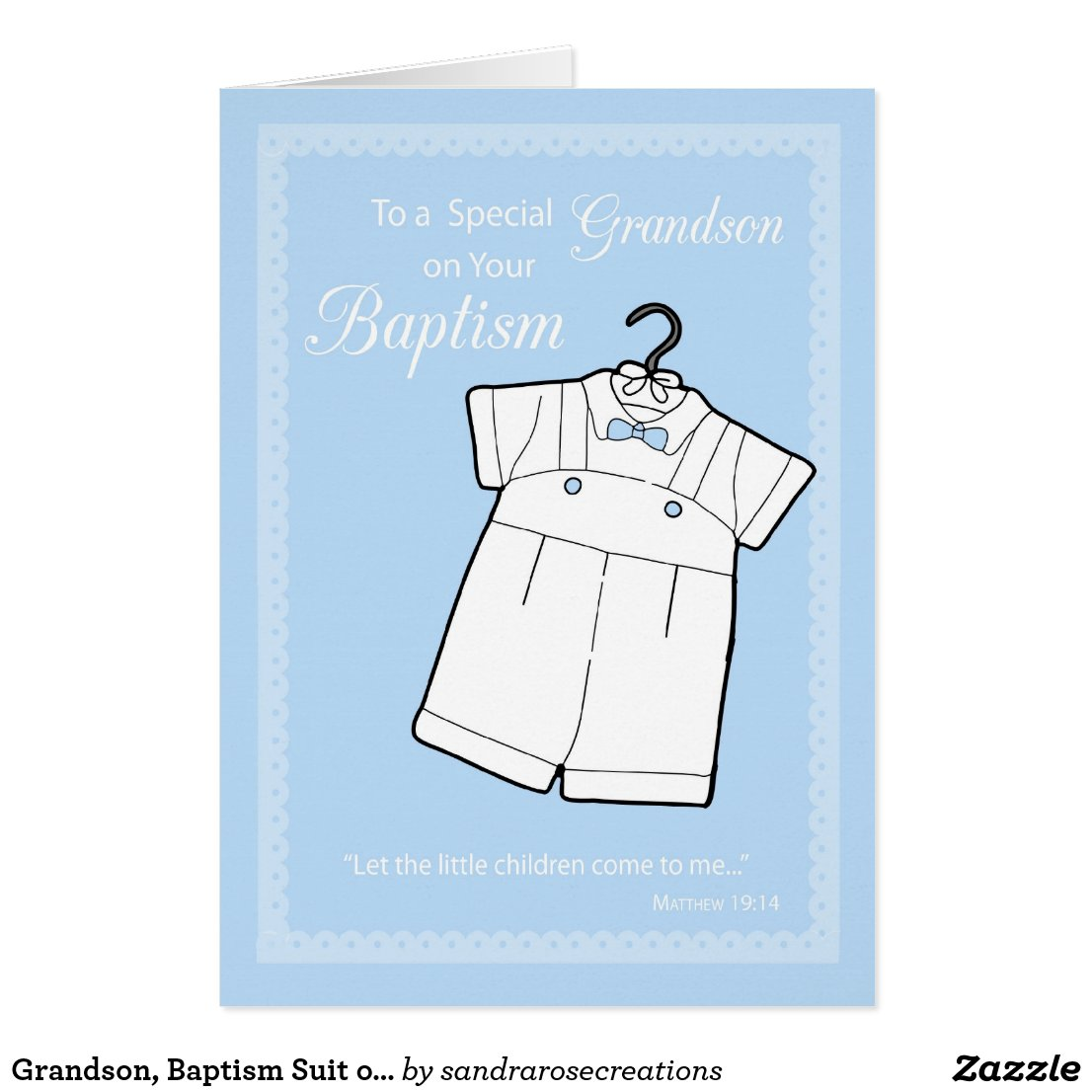 Grandson, Baptism Suit on Baby Blue Card