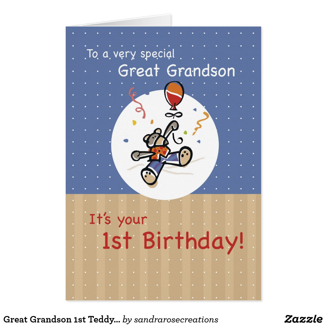 Great Grandson 1st Teddy Bear Balloon Birthday Card