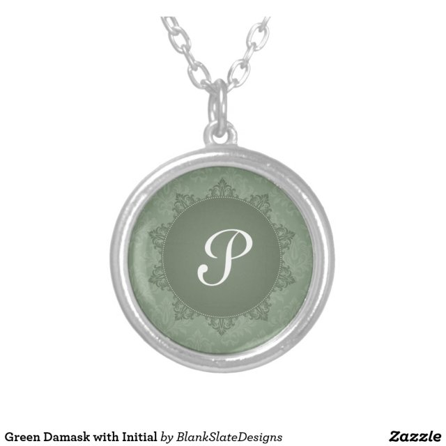 Green Damask with Initial Necklace