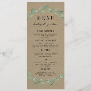 Green Wreath & Modern Typography | Rustic Wedding Menu