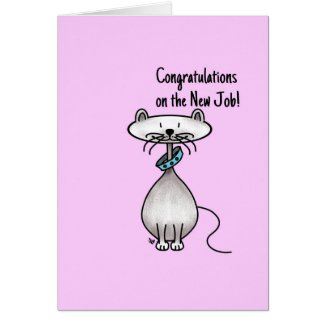 Greeting card -Cat -Congratulations on the new job