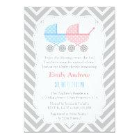 Grey Chevron Strollers Twins Baby Shower Card
