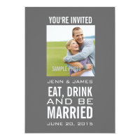 Grey Modern Photo Wedding Invitations