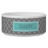 Grey Teal Quatrefoil Custom Name Dog Bowl