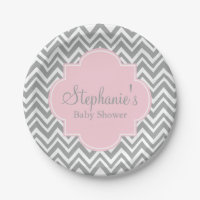 Grey, White and Pastel Pink Chevron Baby Shower 7 Inch Paper Plate