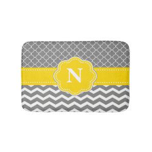 Grey Yellow Chevron Monogram Bathmat