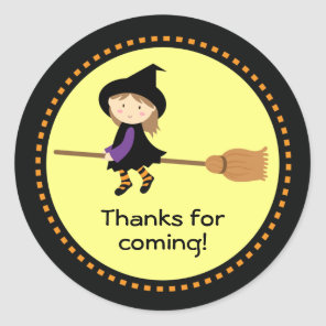 Halloween Favour Personalised Flying Witch Classic Round Sticker