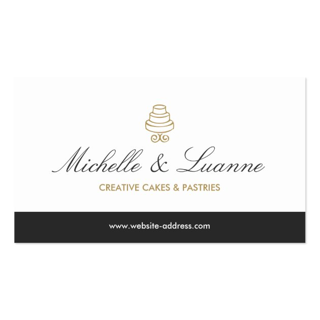 HAND-DRAWN CAKE LOGO IN GOLD FOR BAKERY or CHEF Business