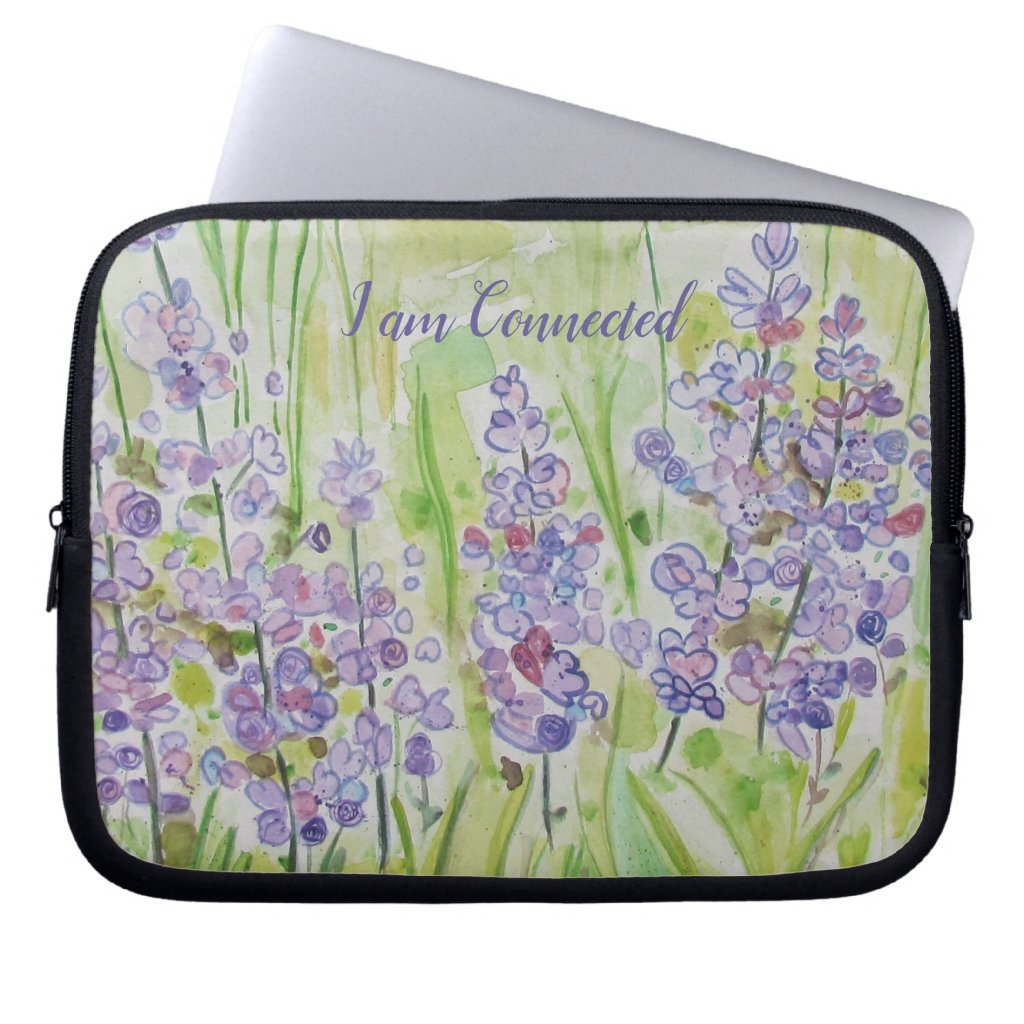 Handpainted Flowers I am Connected - Laptop Sleeve