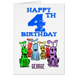 Happy 4th birthday cartoon dogs (name) boys card