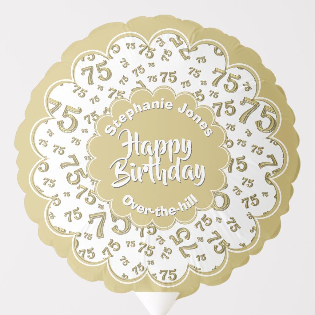 Happy Birthday, 75th Gold/White Fun Party Pattern Balloon