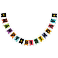 HAPPY BIRTHDAY ☆ BLACK TEXT ON MULTICOLOR BKGD BUNTING FLAGS