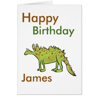 Happy birthday cartoon green dinosaur boys(name)