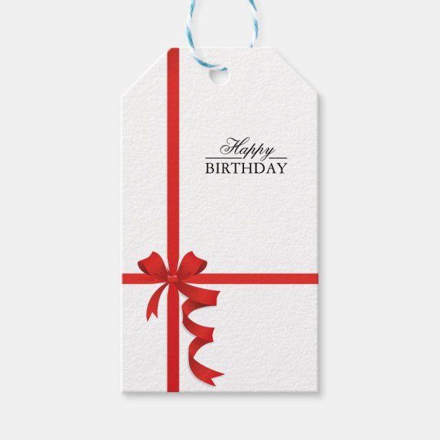 Happy Birthday Red Ribbon Gift Tags