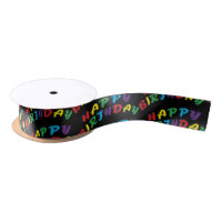 Happy Birthday Word Text Satin Ribbon