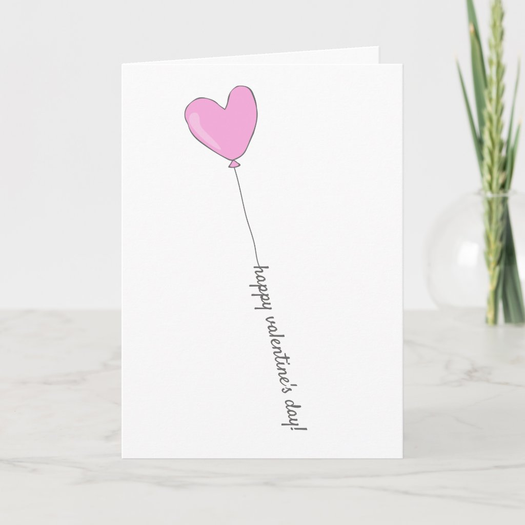 Happy Valentine's Day - Pink Heart Shaped Balloon Card