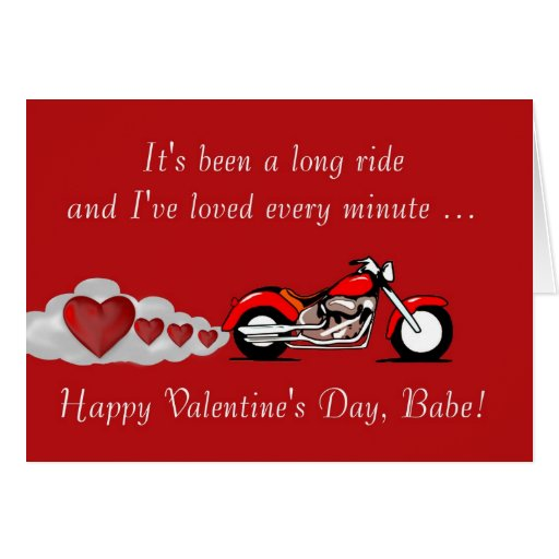 Happy Valentines Day With Motorbike For Biker Greeting