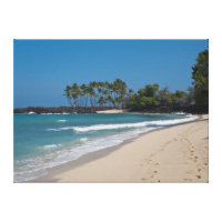 Hawaii Beach with footprints in the sand Canvas Print