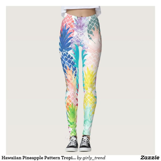 Hawaiian Pineapple Pattern Tropical Watercolor Leggings