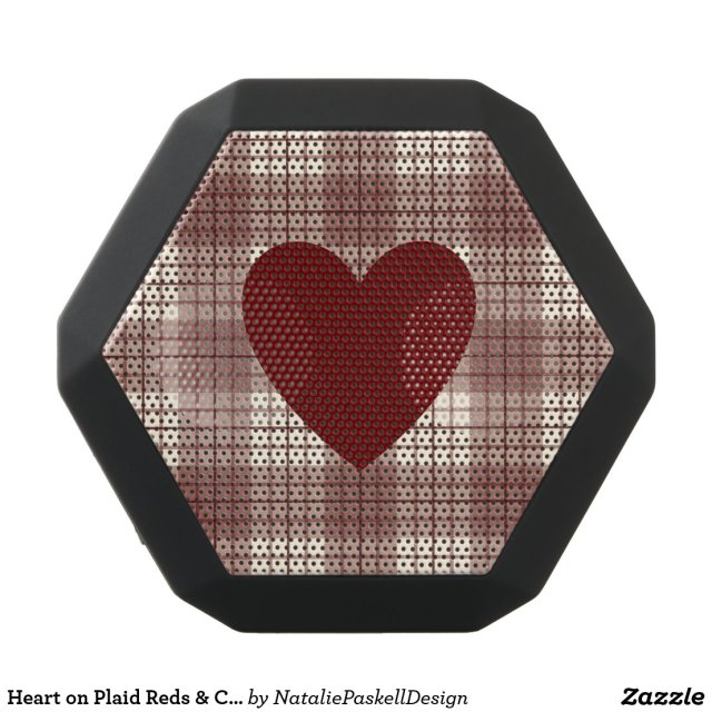 Heart on Plaid Reds & Cream Speaker