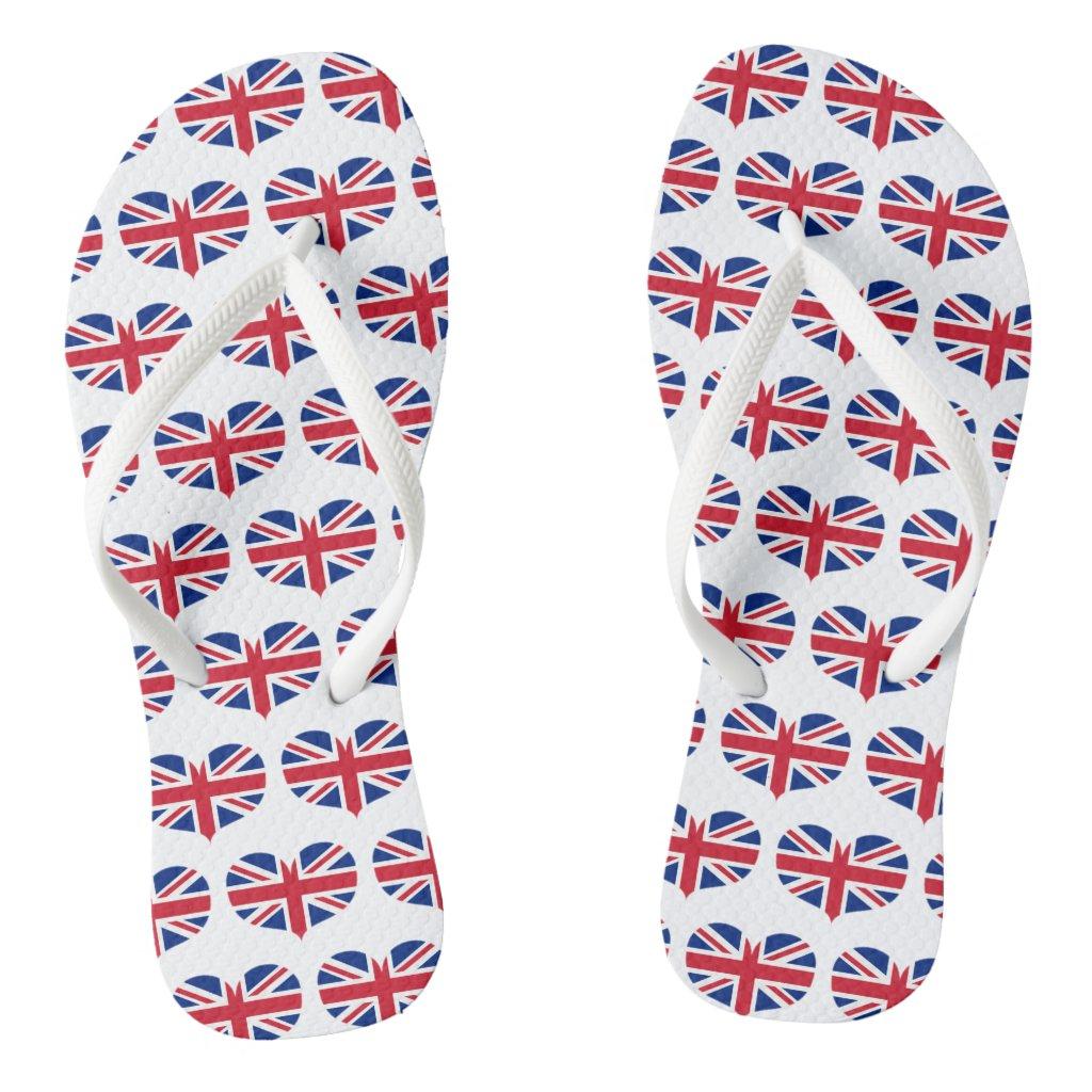 Heart Shaped United Kingdom Flag / Union Jack Flip Flops