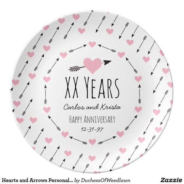 Hearts and Arrows Personalised Wedding Anniversary Plate