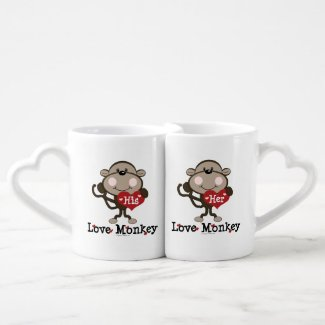 His and Her Love Monkey Couples Mug