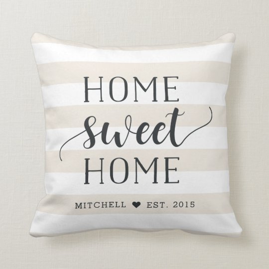 home sweet home personalised striped cushion