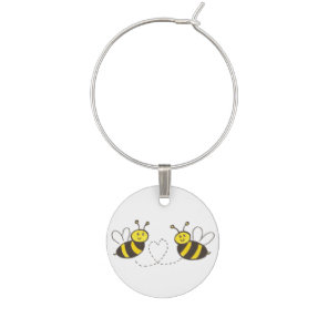 Honey Bees with Heart Wine Charm