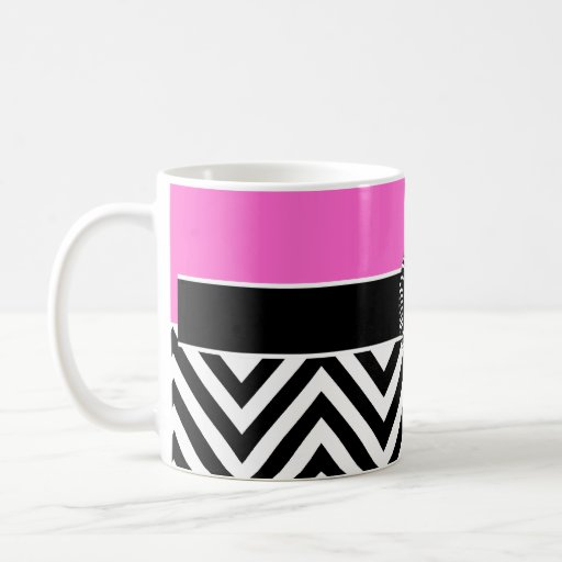 Hot Pink and Black Chevron Monogram Mug