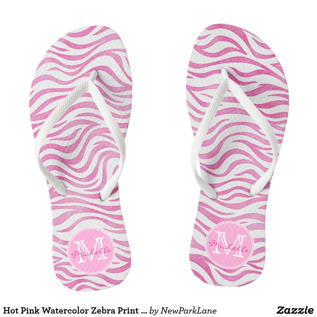 Hot Pink Watercolor Zebra Print | Personalised Flip Flops