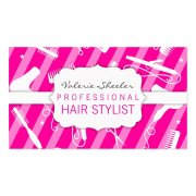 hot pink & white hair salon tools