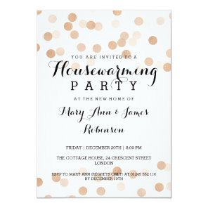 Housewarming Party Faux Copper Foil Glitter Lights Invitation