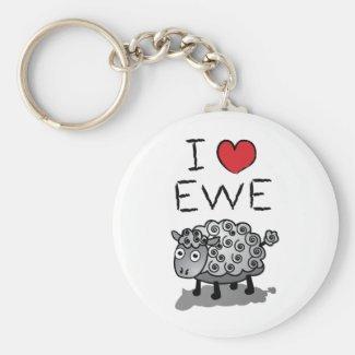 I Love Ewe Keyring