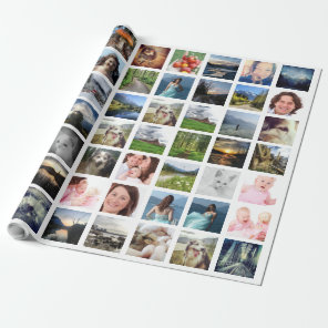 Instagram Photo Collage with 56 Pictures Wrapping Paper