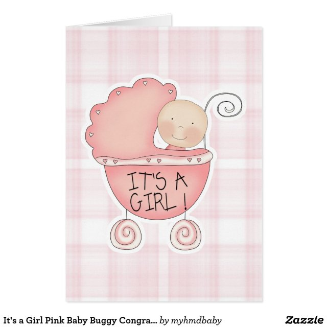It's a Girl Pink Baby Buggy Congratulations