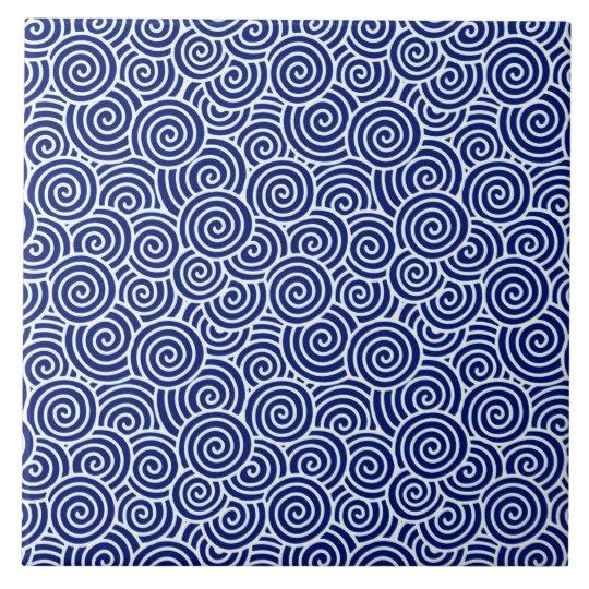 japanese swirl pattern navy blue and white tile
