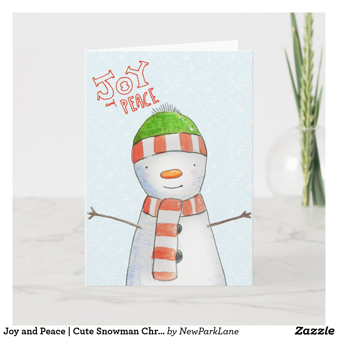 Joy and Peace | Cute Snowman Christmas Holiday Card