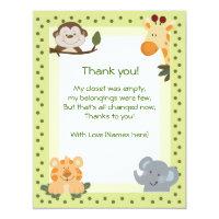 Jungle Safari Animals Baby Shower Thank you notes 4.25x5.5 Paper Invitation Card