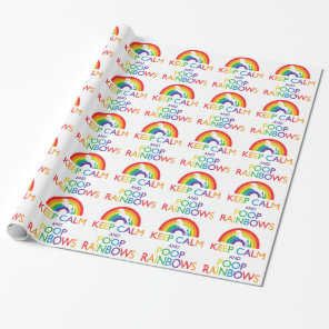 Keep Calm and Poop Rainbows Unicorn Wrapping Paper