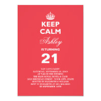 Keep Calm 21st Birthday Invite