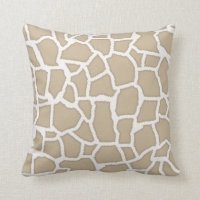 Khaki Giraffe Animal Print Cushion