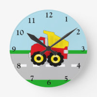 Kids Boys Construction Dumptruck Round Clocks
