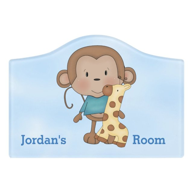 Kid's Door Sign Cute Baby Monkey Boy