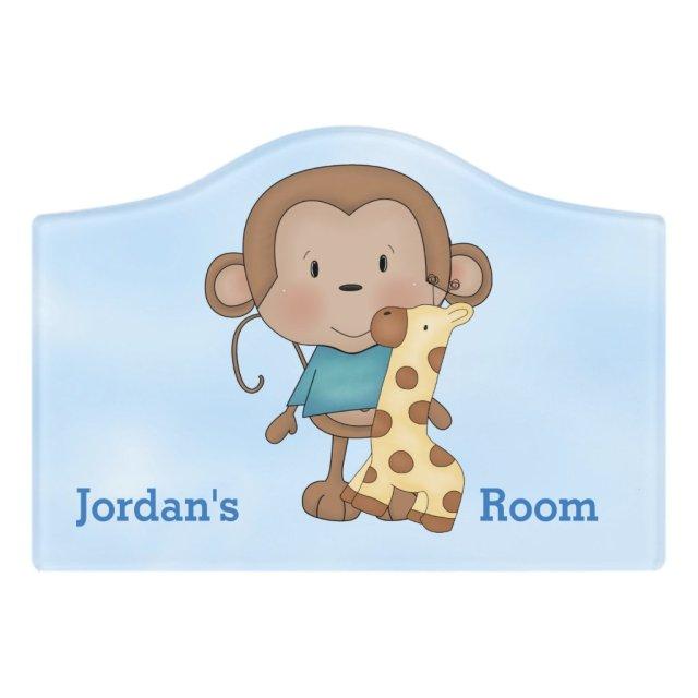 Kid's Door Sign Cute Baby Monkey Boy