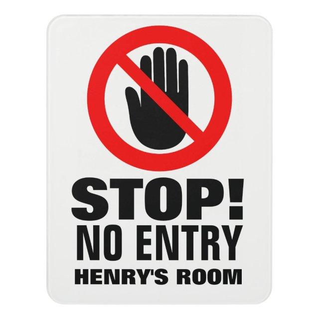 Kids personalised no entry door sign
