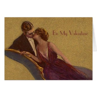 Kissing on the Chaise-Longue Valentine Greeting Cards