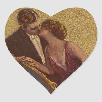 Kissing on the Chaise-Longue Valentine Heart Stickers