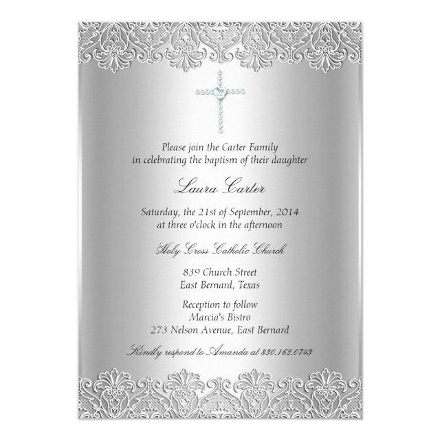 Lace & Cross Baptism/Christening Invitation